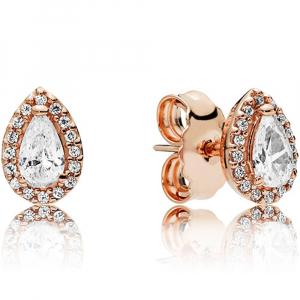PANDORA Rose stud earrings with clear cubic zirconia