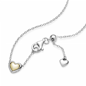 Heart sterling silver and 14k gold collier