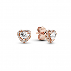 Heart Pandora Rose stud earrings with clear cubic zirconia