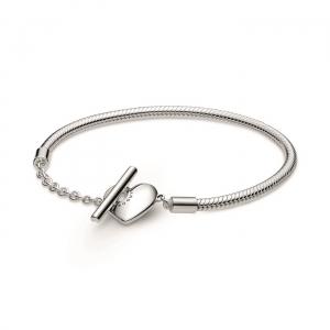 Snake chain sterling silver T-bar heart bracelet