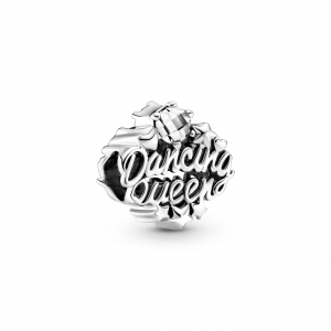 Dancing Queen sterling silver charm with clear cubic zirconia