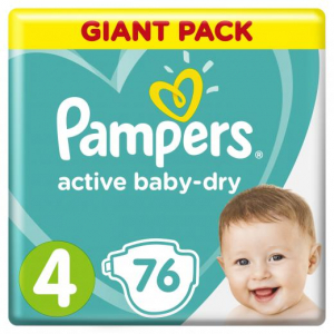PAMPERS ACTIVE BABY-DRY #4 9-14 КГ 76 ШТ