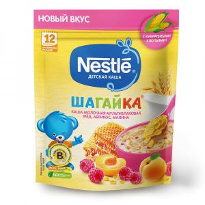 Каша Nestle молочная Шагайка мультизлакоая мед, абрикос и малина 190 гр
