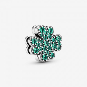 Clover sterling silver clip charm with royal green crystal