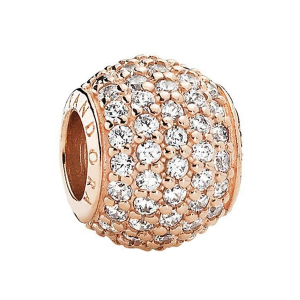Abstract pave PANDORA Rose charm with cubic zirconia