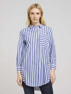 blous, blue offwhite vertical stripe, 40