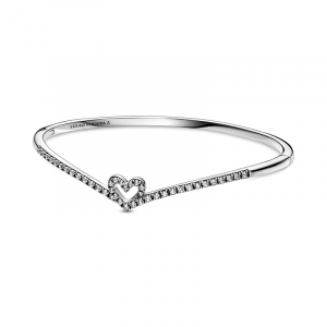 Heart and wishbone sterling silver bangle with clear cubic zirconia