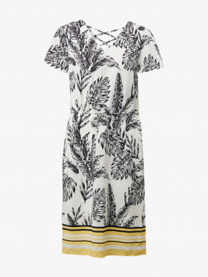 dress printed wit, offwhite tropical, 34