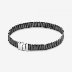 Oxidised sterling silver mesh bracelet