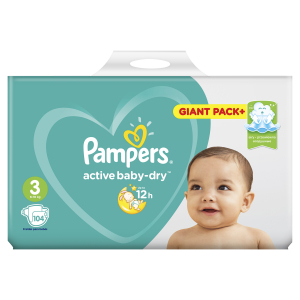 PAMPERS ACTIVE BABY-DRY #3 6-10 КГ 104 ШТ