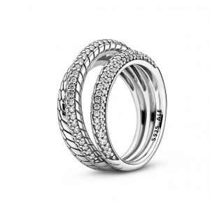 Snake chain pattern sterling silver ring with clear cubic zirconia