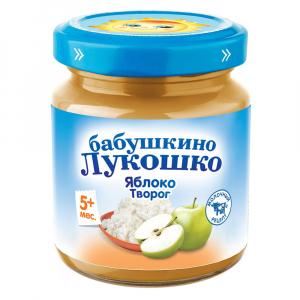Пюре Бабушкино лукошко из яблок с творогом 100 гр