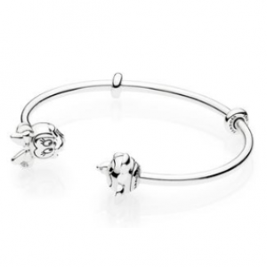 Disney open silver bangle with silicone stoppers and Mickey & Minnie interchangeable end caps