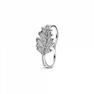 Double finger oak leaf sterling silver ring with clear cubic zirconia
