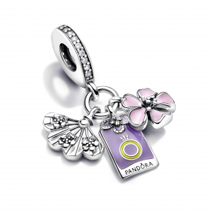Sakura, omamori and fan sterling silver dangle with clear cubic zirconia, pink, purple and yellow enamel