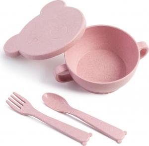 ЭКО посуда Bear (миска с крышкой, ложка и вилка) розовый, 330мл, LA2933РЗ