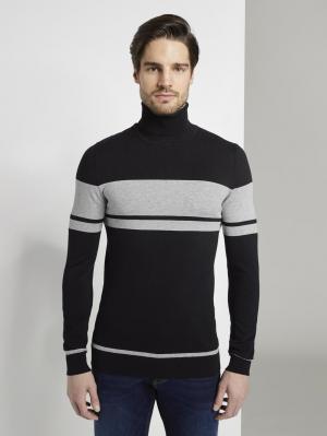fine knit jacquard turtle-neck, Black, S