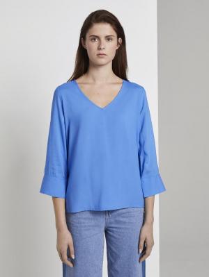 easy v-neck blouse, water sport blue, M