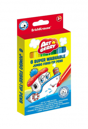 Фломастеры ArtBerry® Jumbo Super Washable 6 цветов
