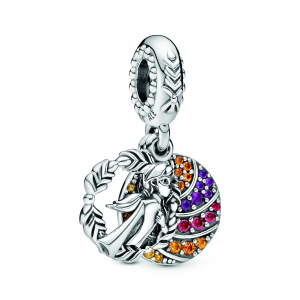 Disney Anna sterling silver dangle with honey, orange, red cubic zirconia and royal purple crystal