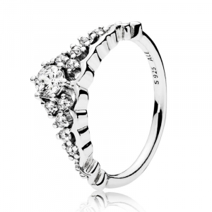 Tiara silver ring with clear cubic zirconia