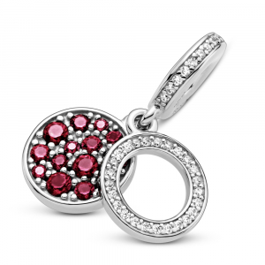 Circle and disc sterling silver dangle with red and clear cubic zirconia