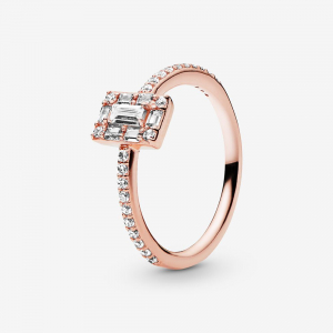 Ice cube PANDORA Rose ring with clear cubic zirconia