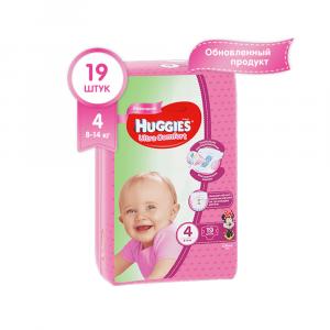 Подгузники для девочек Huggies Ultra Comfort 4 (8-14 кг) 19 шт