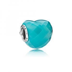 Heart silver charm with scuba blue crystal