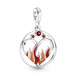 Fire sterling silver medallion with salsa red crystal, red and orange enamel