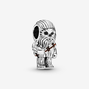 Star Wars Chewbacca sterling silver charm with brown and black enamel