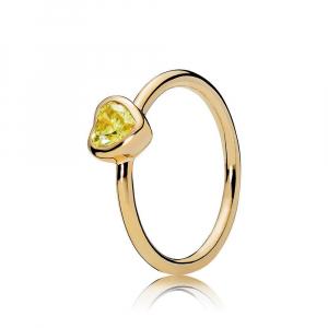 Heart PANDORA Shine ring with sunshine yellow cubic zirconia
