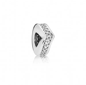 Wishbone silver spacer with clear cubic zirconia
