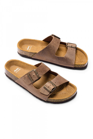 BATA. NUBUCK FUSBET SANDAL, BROWN COLOUR