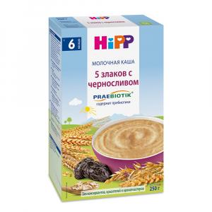 Каша HiPP молочная 5 злаков с черносливом 250 гр