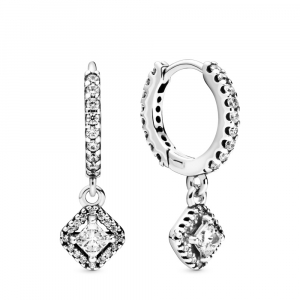 Sterling silver hoop earrings with clear cubic zirconia