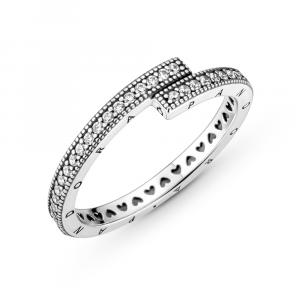 Pandora logo sterling silver ring with clear cubic zirconia