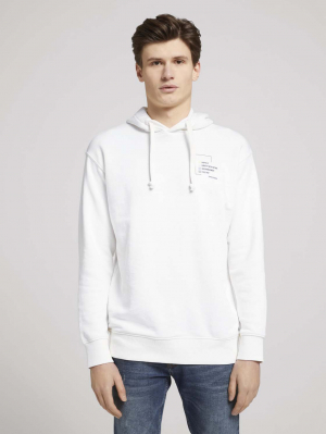 Hoody with print, Soft Clear White, M