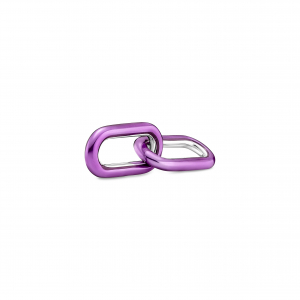 Sterling silver double link with transparent purple enamel