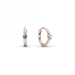 Pandora Rose hoop earrings with bleached aqua blue crystal