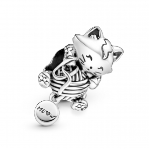 Kitten and yarn ball sterling silver charm