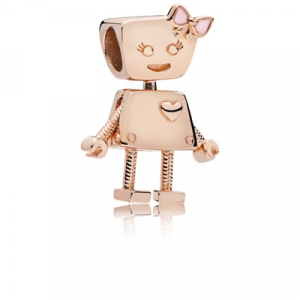 Robot girl PANDORA Rose charm with pink enamel