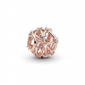 Openwork Pandora Rose charm with clear cubic zirconia