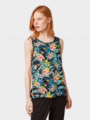 sleeveless bl, black tropical design, 34