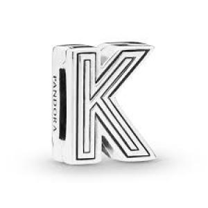 Pandora Reflexions letter K silver clip charm