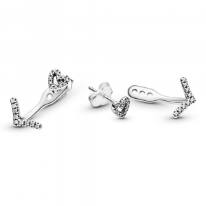 Heart sterling silver stud earrings with detachable wishbone earring jackets and clear cubic zirconia