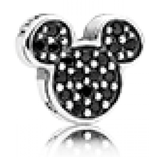 Disney Mickey silhouette silver petite element with black crystal