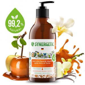 SYNERGETIC натуральный гель для душа Карамельное яблоко и ваниль, 0,38л.