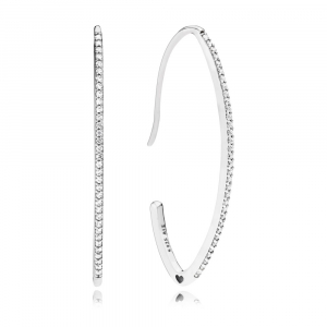 Silver oval hoop earrings with clear cubic zirconia