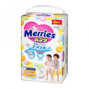 Трусики-подгузники для детей MERRIES размер XL 12-22 кг 38 шт